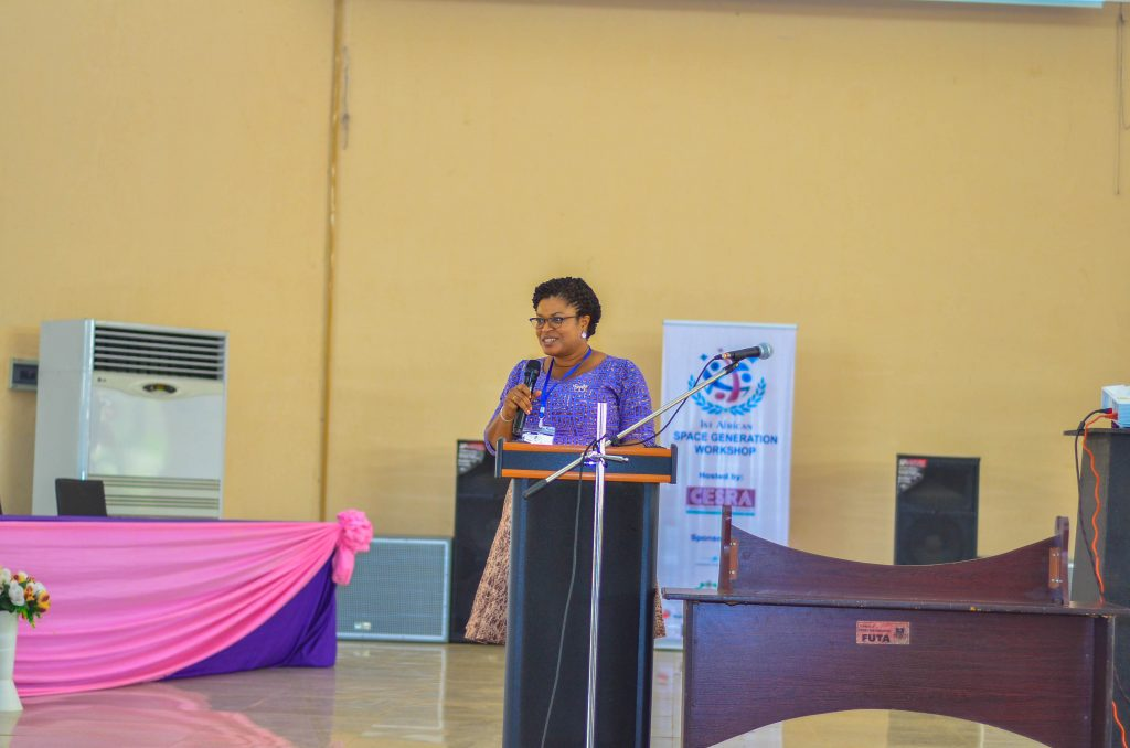 Ms. Abimbola Alele, Managing Director of Nigerian Communications Satellite Limited (NIGCOMSAT) and International Space University ISU Alumnus talking about Connecting Africa Using Satellite Technologies, a case study of NIGCOMSAT