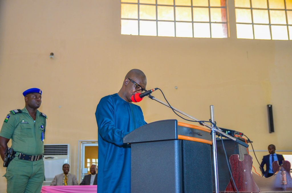 The Deputy Governor of Ondo State, Hon. Agboola Ajayi declaring open the 1st African Space Generation Workshop.