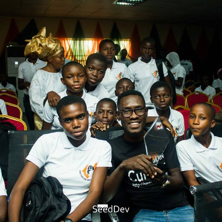Watti Boaz and some of the participants of an ICT Boot camp for over a 100 girls in Akure, the Ondo State capit