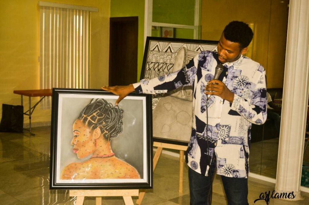 Raymond Darlington (Dharlenez) presenting his work.