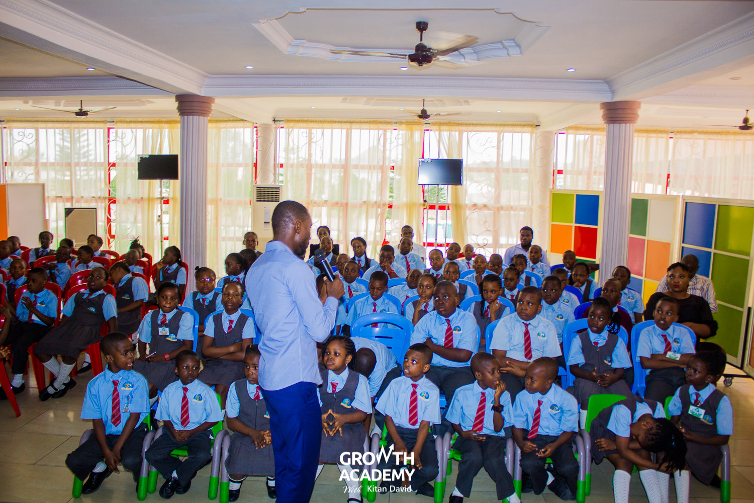 Bayode speaking with Kids at Watersprings International School, Akure, Ondo State